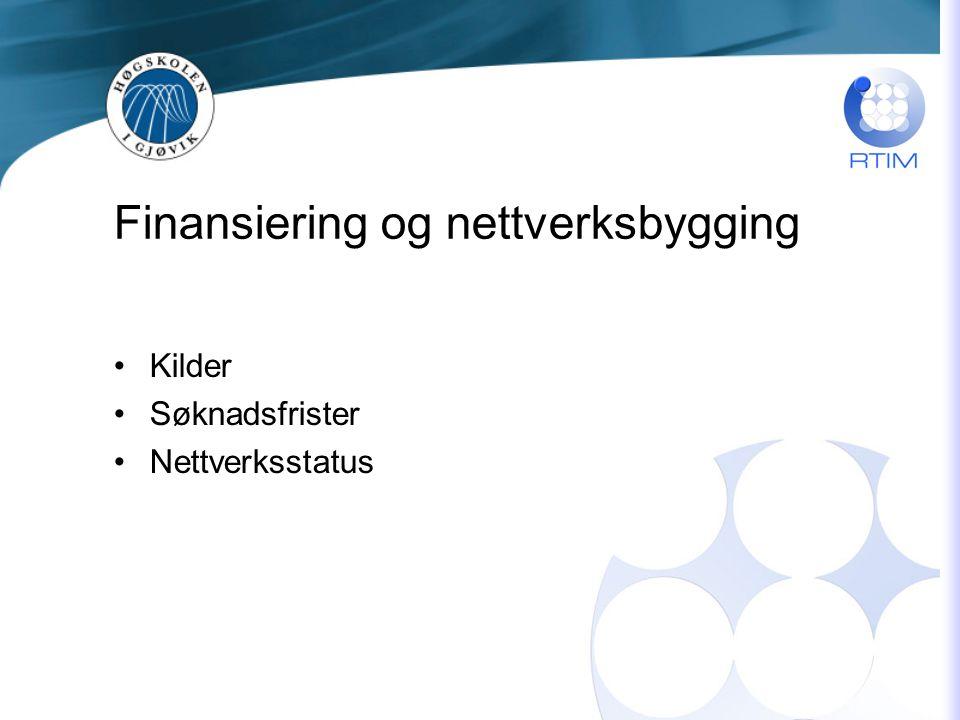 Finansiering og nettverksbygging Kilder Søknadsfrister Nettverksstatus