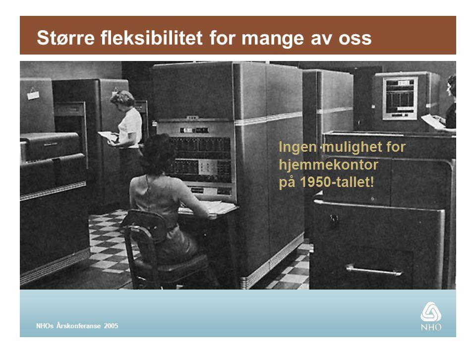 NHOs Årskonferanse 2005 Større fleksibilitet for mange av oss Ingen mulighet for hjemmekontor på 1950-tallet!
