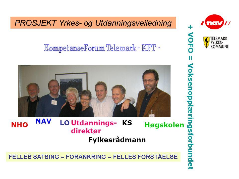 PROSJEKT Yrkes- og Utdanningsveiledning NHO NAV LOUtdannings- direktør Fylkesrådmann KS Høgskolen + VOFO = Voksenopplæringsforbundet FELLES SATSING –