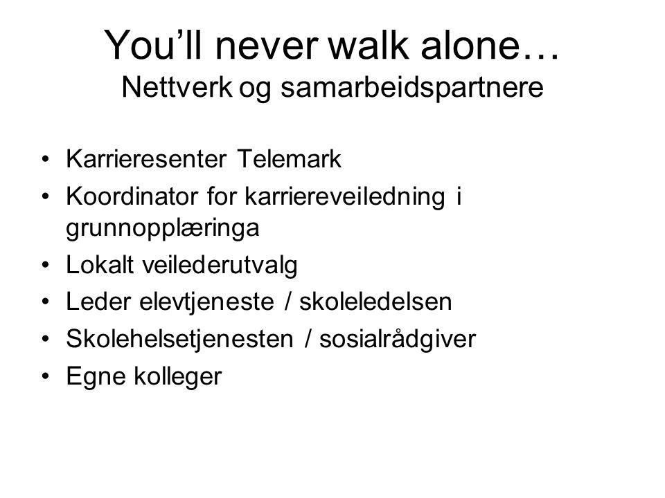 You'll never walk alone… Nettverk og samarbeidspartnere Karrieresenter Telemark Koordinator for karriereveiledning i grunnopplæringa Lokalt veilederut