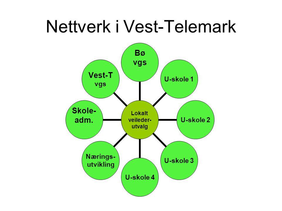 Nettverk i Vest-Telemark Lokalt veileder- utvalg Bø vgsU-skole 1U-skole 2U-skole 3U-skole 4 Nærings- utvikling Skole- adm. Vest-T vgs
