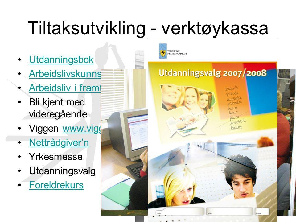 Tiltaksutvikling - verktøykassa Utdanningsbok Arbeidslivskunnskap Arbeidsliv i framtida Bli kjent med videregående Viggen www.viggen.nowww.viggen.no N