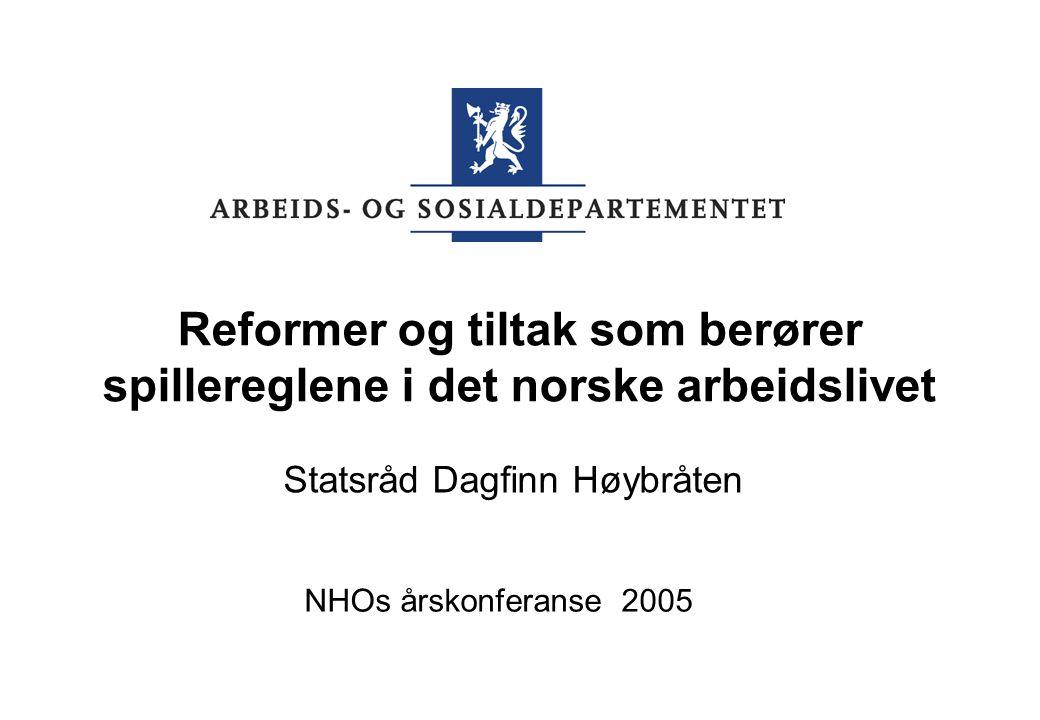Reformer og tiltak som berører spillereglene i det norske arbeidslivet Statsråd Dagfinn Høybråten NHOs årskonferanse 2005