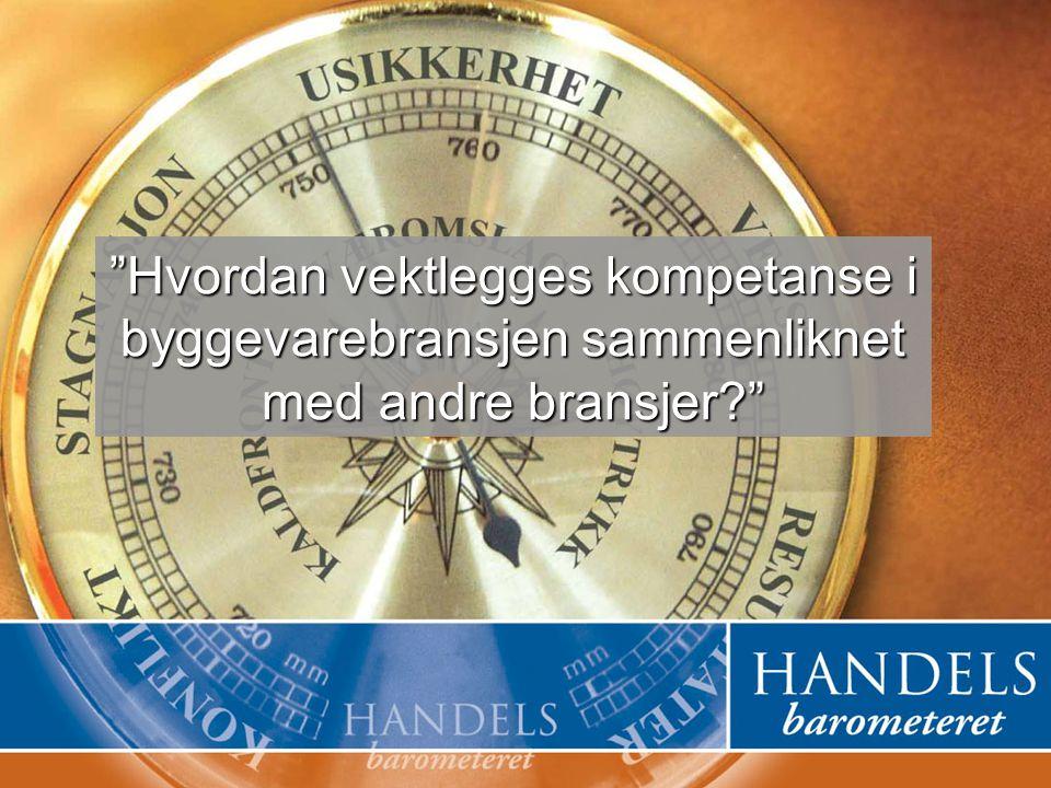 Handelsbarometeret © Pronto og TradeMark as 1 Hvordan vektlegges kompetanse i byggevarebransjen sammenliknet med andre bransjer?