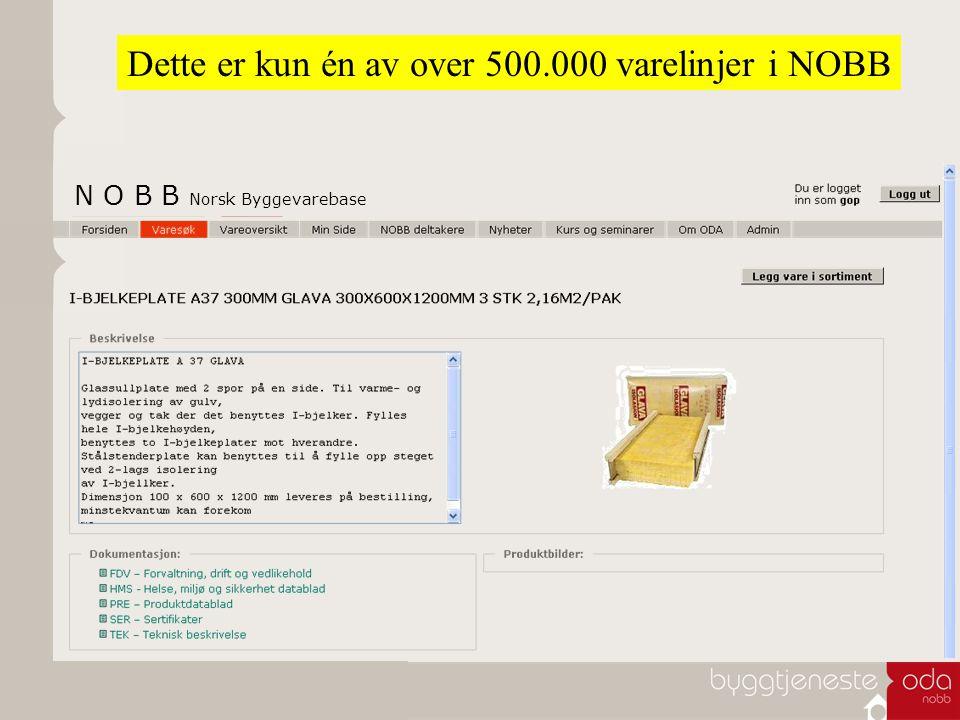 Dette er kun én av over 500.000 varelinjer i NOBB N O B B Norsk Byggevarebase