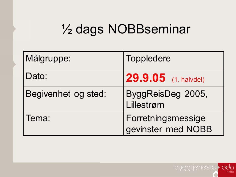 ½ dags NOBBseminar Målgruppe:Toppledere Dato: 29.9.05 (1. halvdel) Begivenhet og sted:ByggReisDeg 2005, Lillestrøm Tema:Forretningsmessige gevinster m