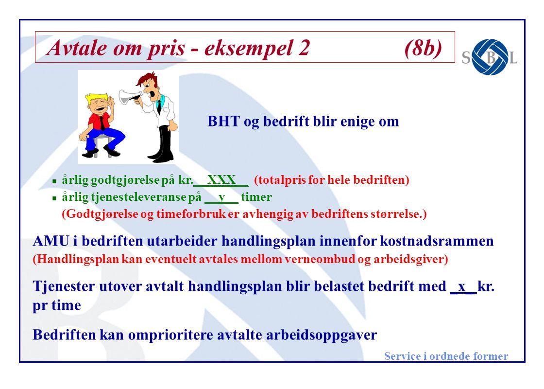 Avtale om pris - eksempel 2(8b) BHT og bedrift blir enige om n årlig godtgjørelse på kr.__XXX__ (totalpris for hele bedriften) n årlig tjenesteleveran