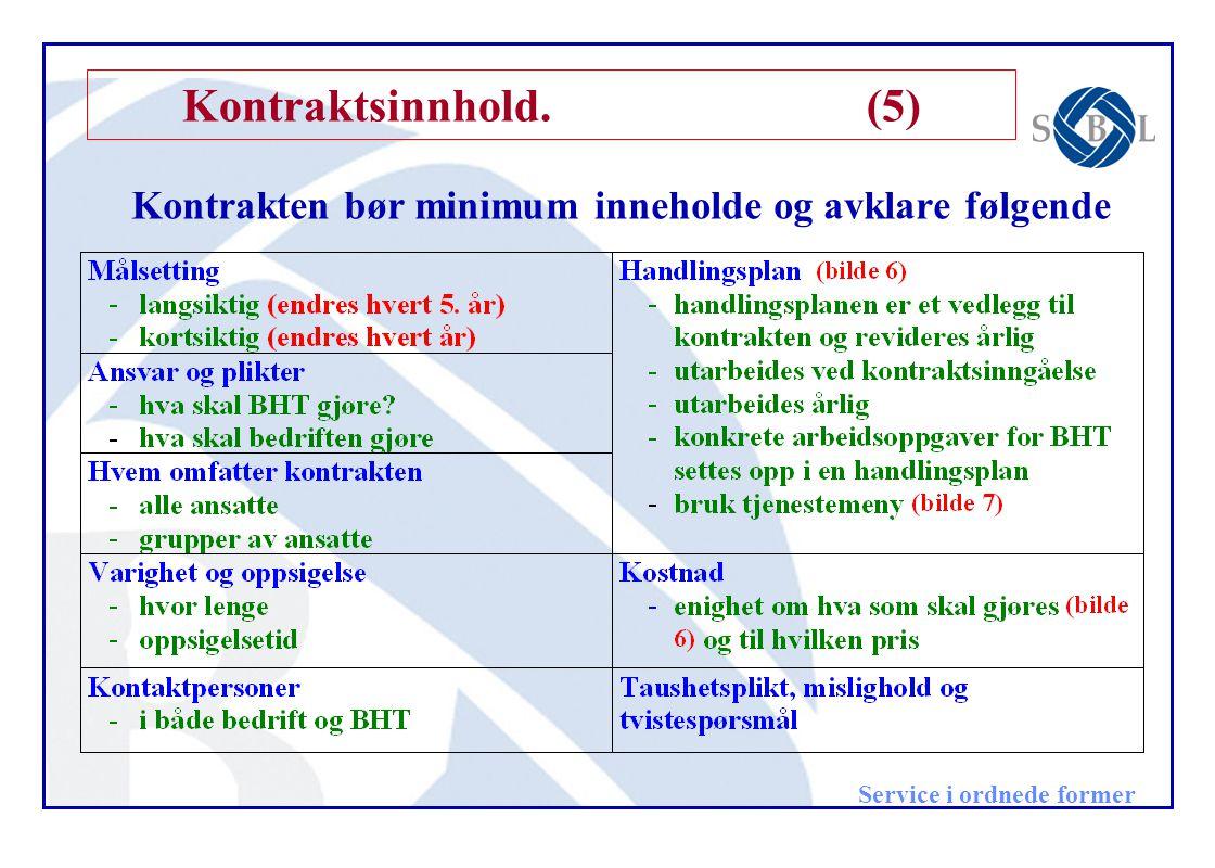 Service i ordnede former Kontraktsinnhold.(5) Kontrakten bør minimum inneholde og avklare følgende
