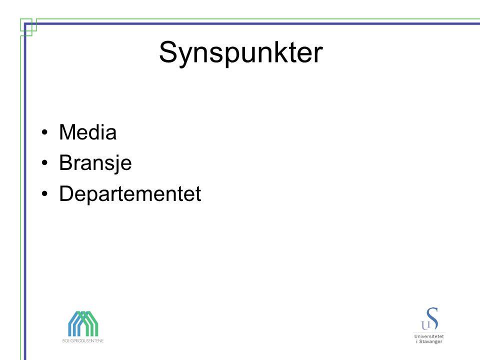 Synspunkter Media Bransje Departementet