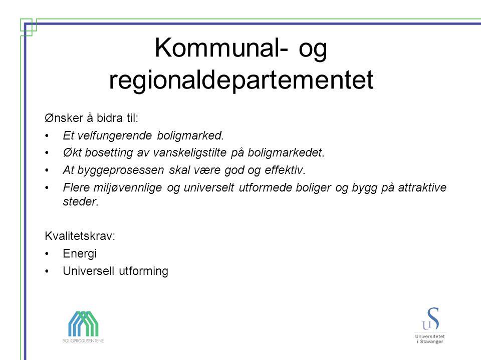 Kommunal- og regionaldepartementet Ønsker å bidra til: Et velfungerende boligmarked.