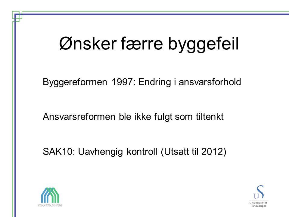 Ønsker færre byggefeil Byggereformen 1997: Endring i ansvarsforhold Ansvarsreformen ble ikke fulgt som tiltenkt SAK10: Uavhengig kontroll (Utsatt til 2012)