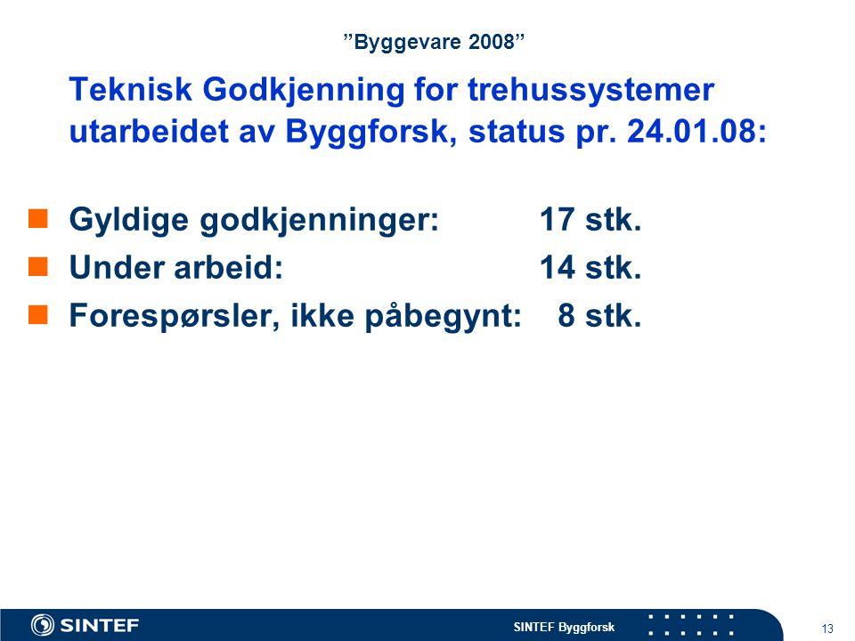 """SINTEF Byggforsk 13 """"Byggevare 2008"""" Teknisk Godkjenning for trehussystemer utarbeidet av Byggforsk, status pr. 24.01.08: Gyldige godkjenninger:17 stk"""