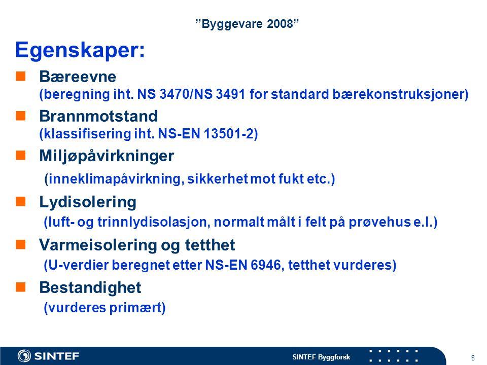 """SINTEF Byggforsk 8 """"Byggevare 2008"""" Egenskaper: Bæreevne (beregning iht. NS 3470/NS 3491 for standard bærekonstruksjoner) Brannmotstand (klassifiserin"""