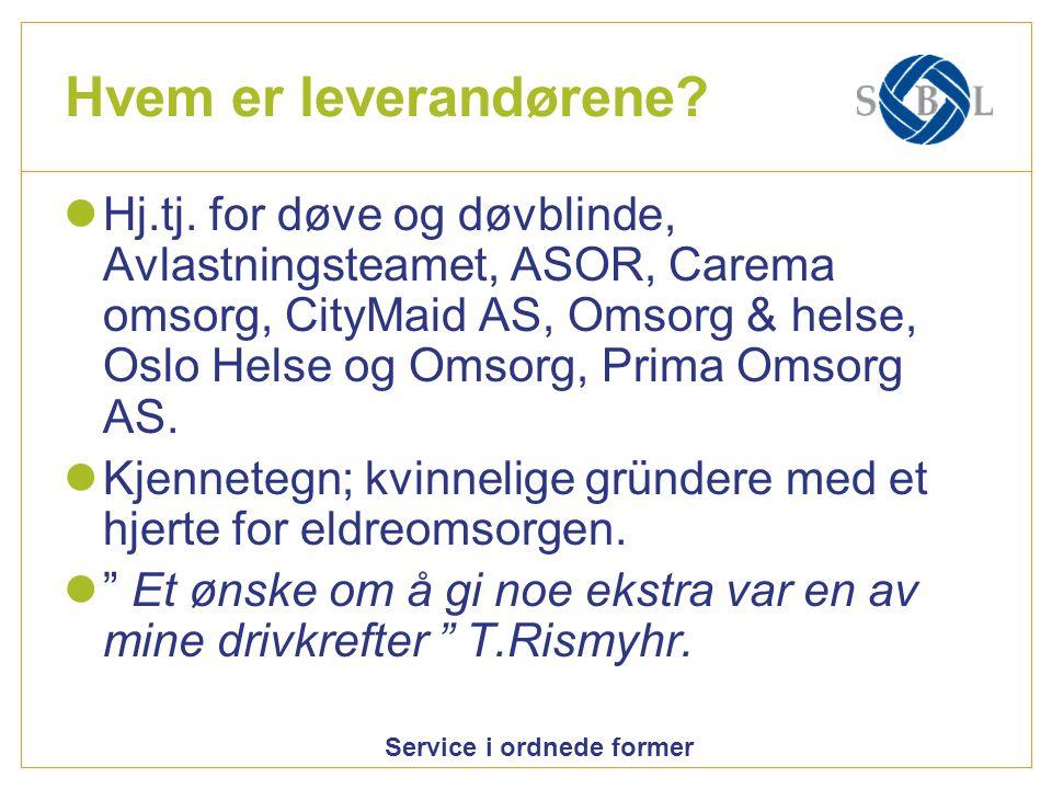 Service i ordnede former Hvem er leverandørene? Hj.tj. for døve og døvblinde, Avlastningsteamet, ASOR, Carema omsorg, CityMaid AS, Omsorg & helse, Osl