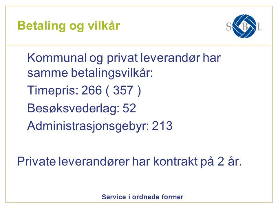 Service i ordnede former Betaling og vilkår Kommunal og privat leverandør har samme betalingsvilkår: Timepris: 266 ( 357 ) Besøksvederlag: 52 Administ