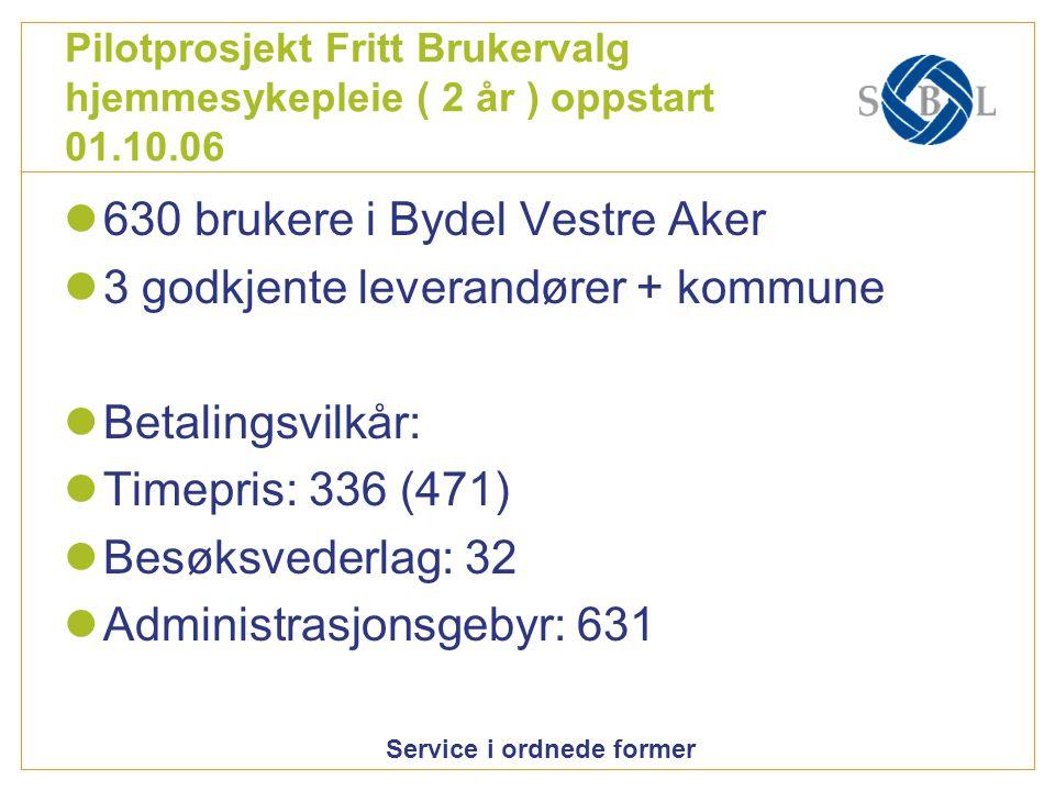Service i ordnede former Pilotprosjekt Fritt Brukervalg hjemmesykepleie ( 2 år ) oppstart 01.10.06 630 brukere i Bydel Vestre Aker 3 godkjente leveran