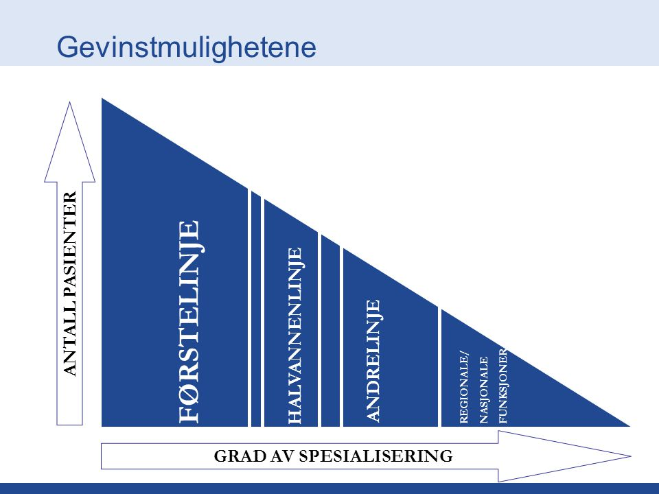 Gevinstmulighetene ANTALL PASIENTER GRAD AV SPESIALISERING FØRSTELINJE HALVANNENLINJE ANDRELINJE REGIONALE/ NASJONALE FUNKSJONER