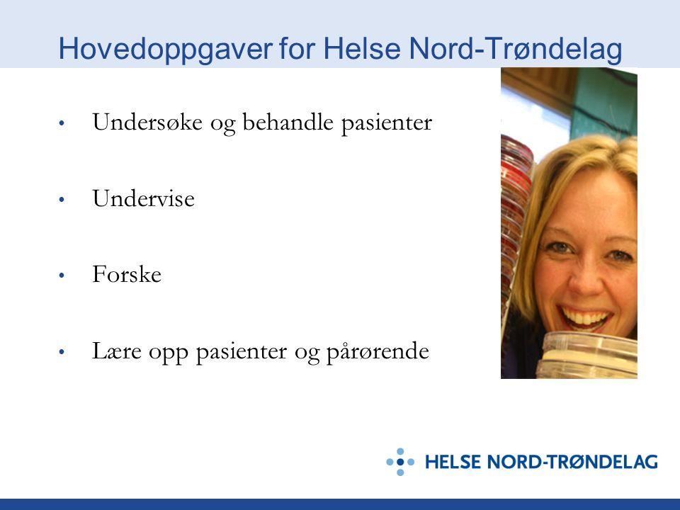 Hovedoppgaver for Helse Nord-Trøndelag Undersøke og behandle pasienter Undervise Forske Lære opp pasienter og pårørende