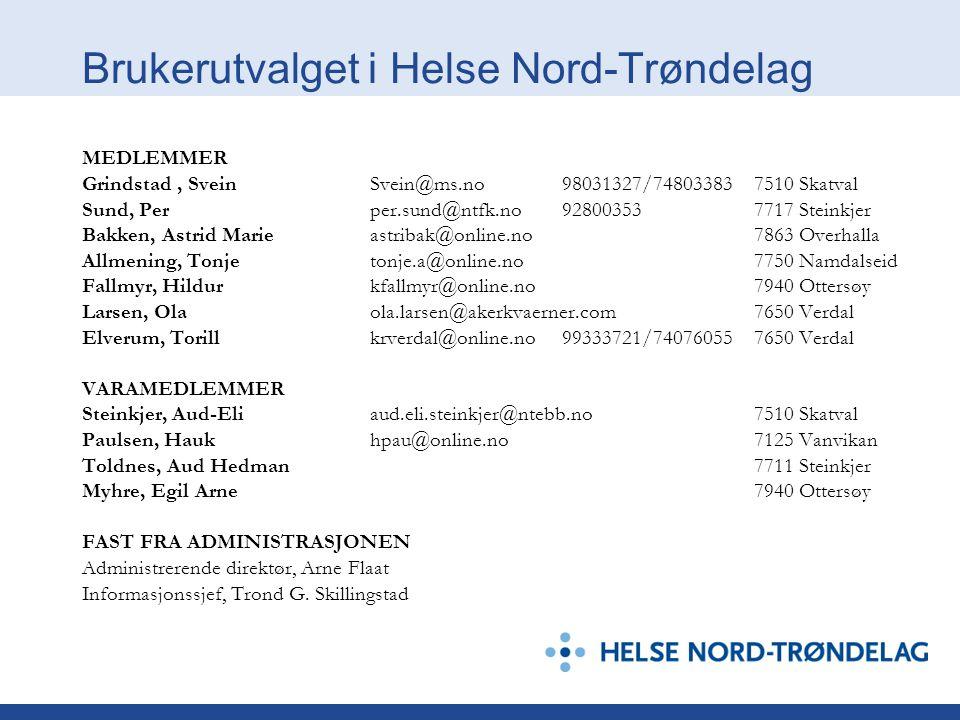 Brukerutvalget i Helse Nord-Trøndelag MEDLEMMER Grindstad, SveinSvein@ms.no98031327/748033837510 Skatval Sund, Perper.sund@ntfk.no928003537717 Steinkj