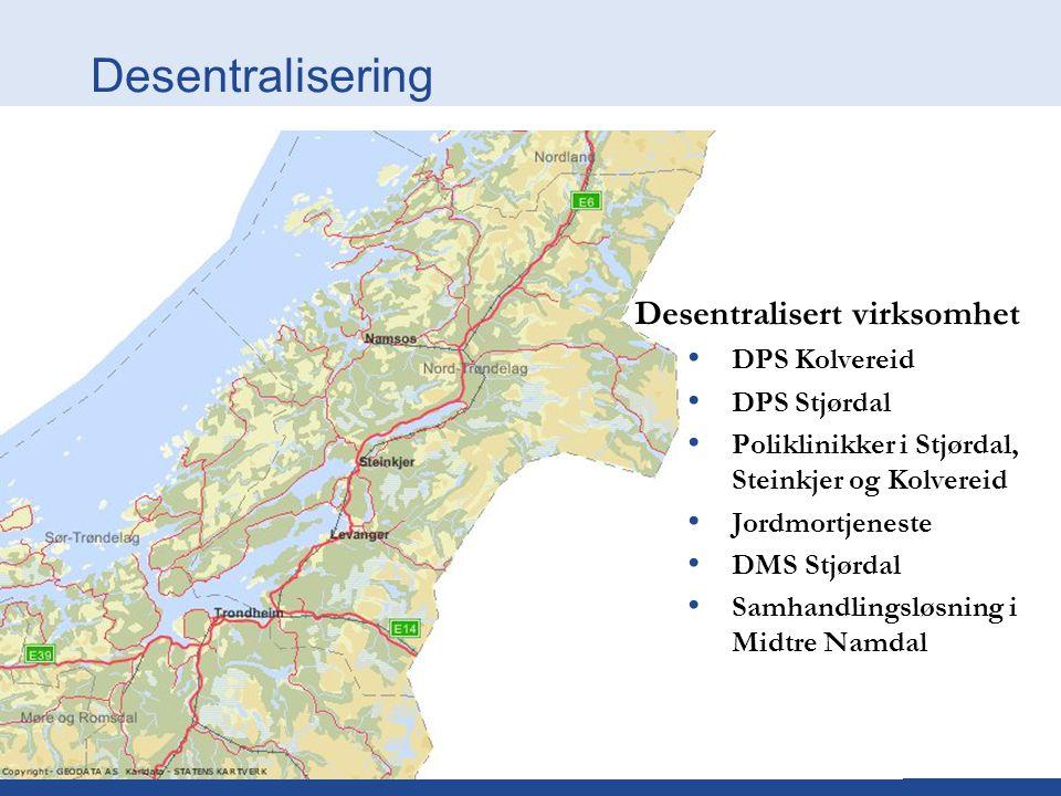 Desentralisering Desentralisert virksomhet DPS Kolvereid DPS Stjørdal Poliklinikker i Stjørdal, Steinkjer og Kolvereid Jordmortjeneste DMS Stjørdal Sa