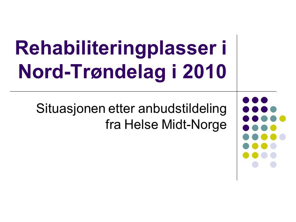 Rehabiliteringplasser i Nord-Trøndelag i 2010 Situasjonen etter anbudstildeling fra Helse Midt-Norge