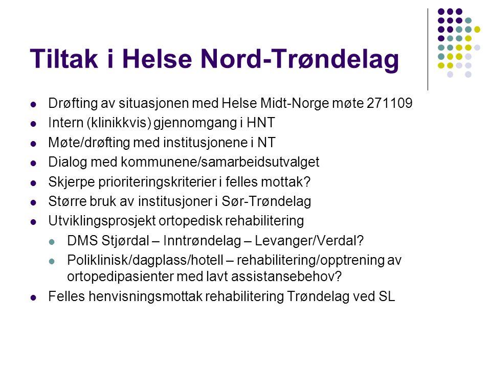 Tiltak i Helse Nord-Trøndelag Drøfting av situasjonen med Helse Midt-Norge møte 271109 Intern (klinikkvis) gjennomgang i HNT Møte/drøfting med institusjonene i NT Dialog med kommunene/samarbeidsutvalget Skjerpe prioriteringskriterier i felles mottak.