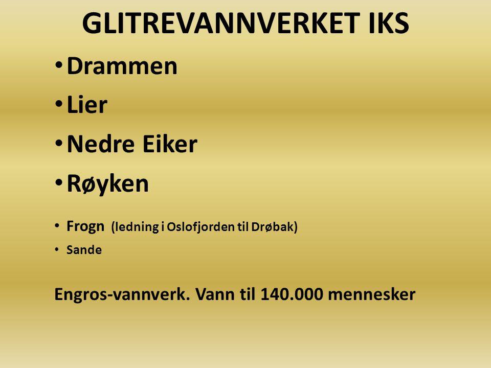 GLITREVANNVERKET IKS Drammen Lier Nedre Eiker Røyken Frogn (ledning i Oslofjorden til Drøbak) Sande Engros-vannverk. Vann til 140.000 mennesker
