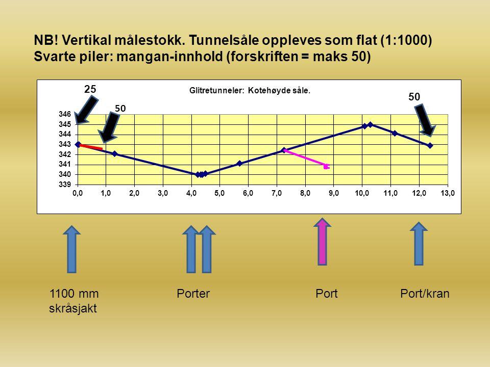 1100 mm skråsjakt PorterPortPort/kran NB! Vertikal målestokk. Tunnelsåle oppleves som flat (1:1000) Svarte piler: mangan-innhold (forskriften = maks 5