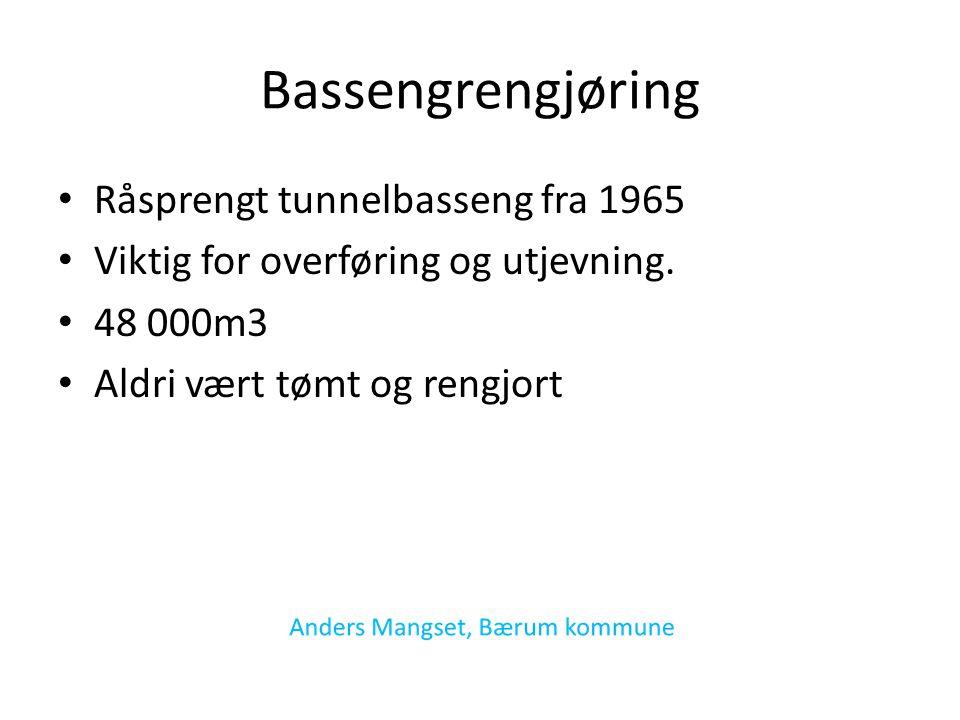 Bassengrengjøring Råsprengt tunnelbasseng fra 1965 Viktig for overføring og utjevning.