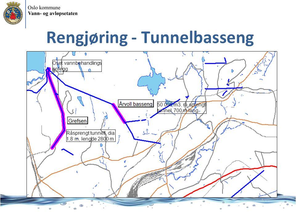 Rengjøring - Tunnelbasseng 50 000 m3, rå sprengt tunnel, 700 m lang.