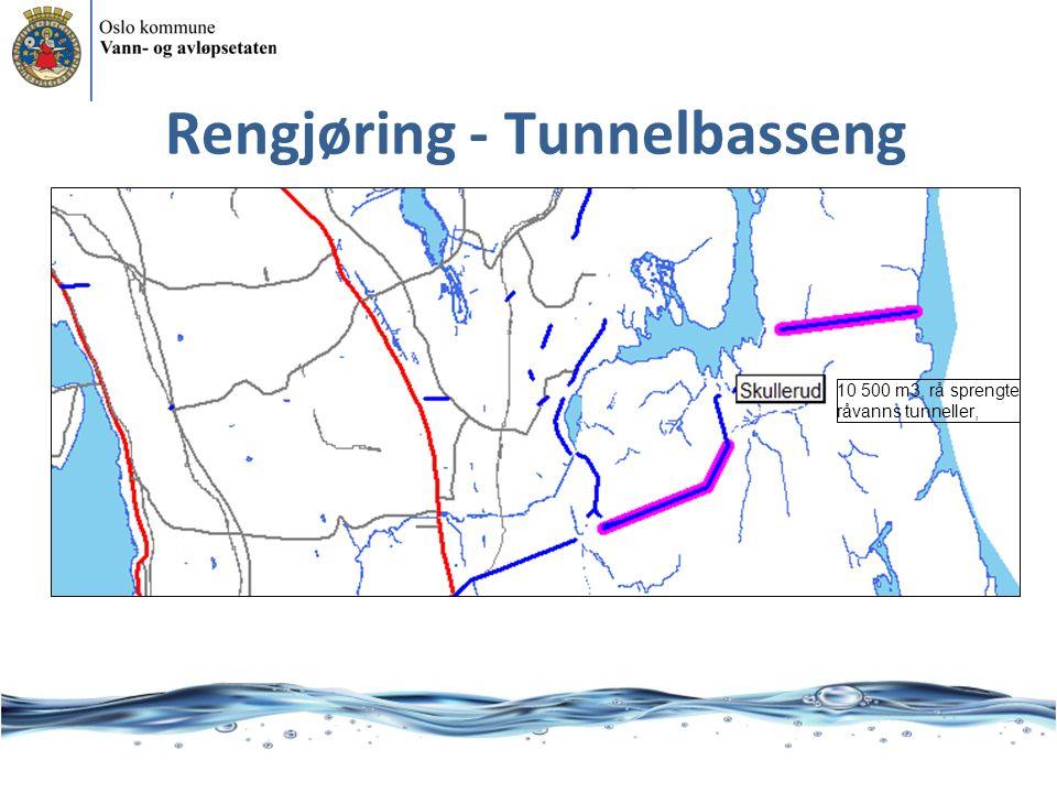 Rengjøring - Tunnelbasseng 10 500 m3, rå sprengte råvanns tunneller,