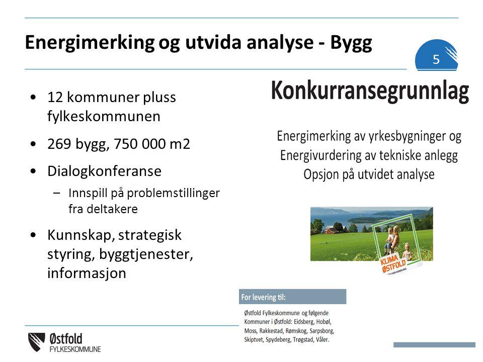 Energimerking og utvida analyse - Bygg Energimerking Fastsatte krav gjennom forskrift – kompetanse Utvida tiltaksanalyse (opsjon) Ingen metodestandard Krav til leveranseformål –Strategisk planlegging –Enovasøknad –Teknisk planlegging/ prioritering Miljø (20%) Leverandøren skal beskrive (på maks 2-3 sider, skriftstørrelse 11) –Hvordan miljøaspektet vil bli ivaretatt ved utførelsen av tjenestene –Særlig fokus på identifisering av miljøbelastninger i prosjektet.