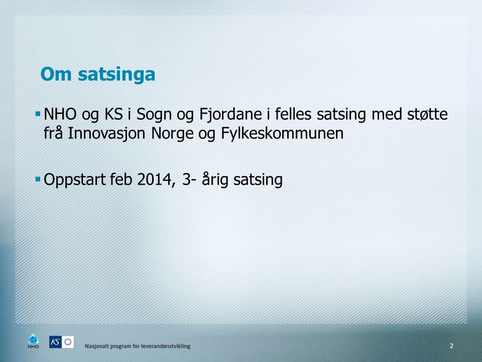 Om satsinga  NHO og KS i Sogn og Fjordane i felles satsing med støtte frå Innovasjon Norge og Fylkeskommunen  Oppstart feb 2014, 3- årig satsing 2