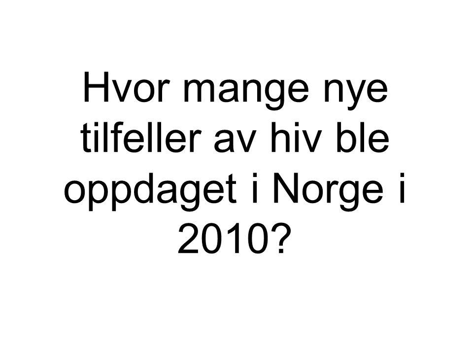 Hvor mange nye tilfeller av hiv ble oppdaget i Norge i 2010?