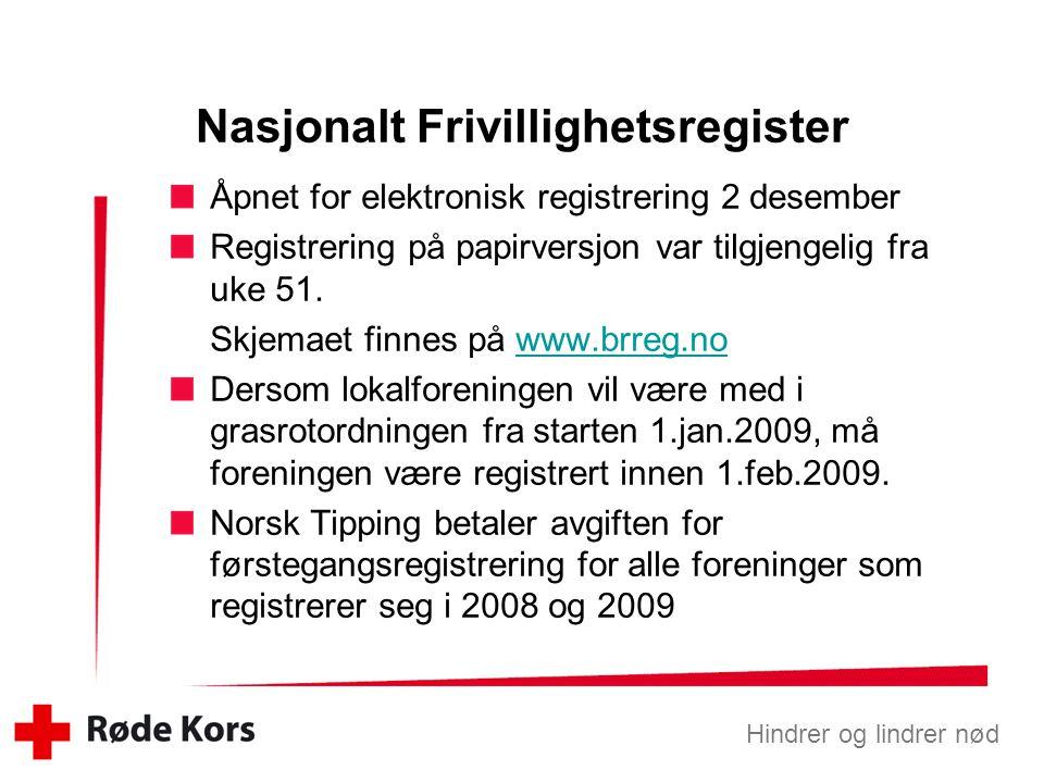 Hindrer og lindrer nød Åpnet for elektronisk registrering 2 desember Registrering på papirversjon var tilgjengelig fra uke 51.