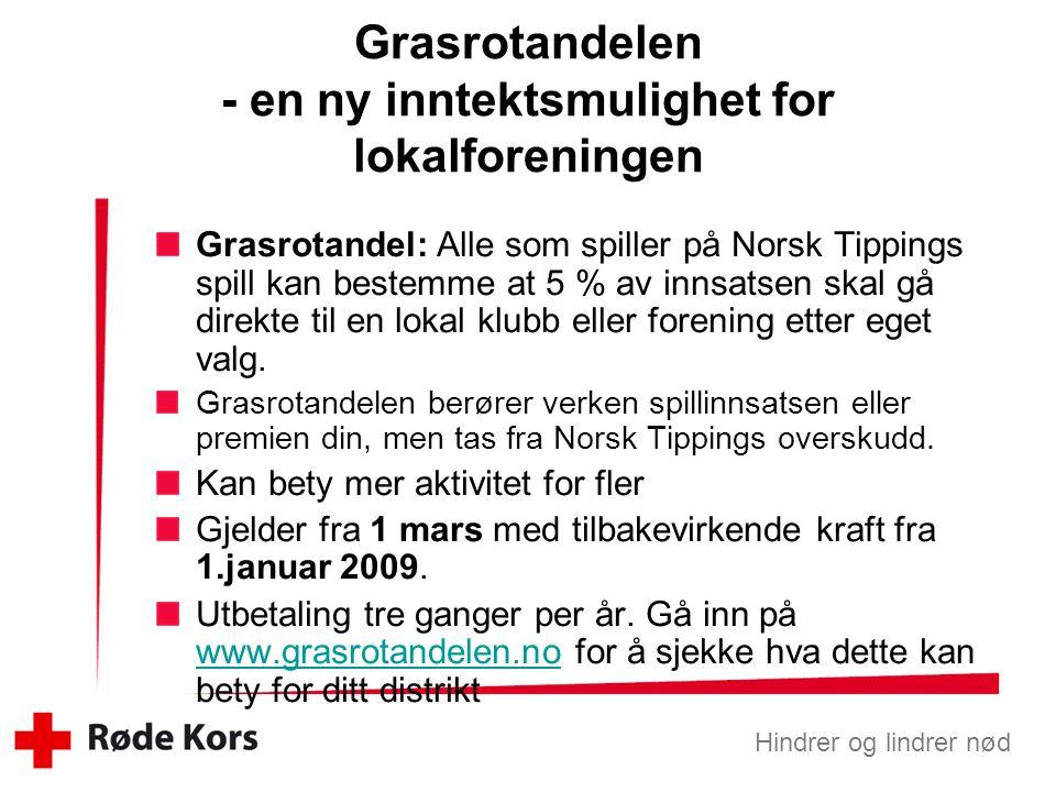 Hindrer og lindrer nød Grasrotandel: Alle som spiller på Norsk Tippings spill kan bestemme at 5 % av innsatsen skal gå direkte til en lokal klubb eller forening etter eget valg.