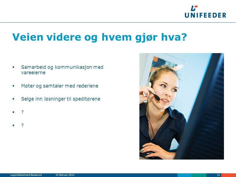 Logistikknettverk Buskerud15 februar 201111 Veien videre og hvem gjør hva.