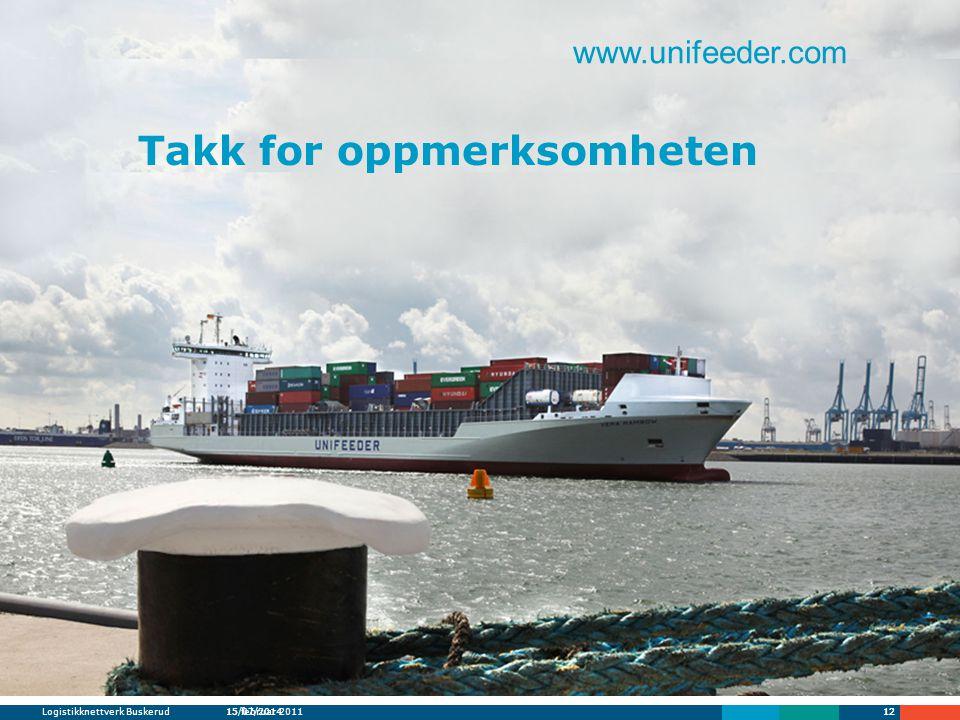 Logistikknettverk Buskerud15 februar 20111215/07/201412 Takk for oppmerksomheten www.unifeeder.com