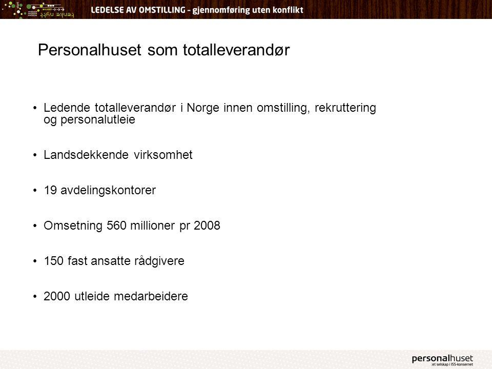 Personalhuset som totalleverandør Ledende totalleverandør i Norge innen omstilling, rekruttering og personalutleie Landsdekkende virksomhet 19 avdelin