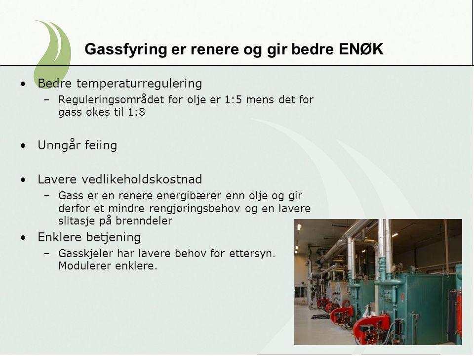 Gassfyring er renere og gir bedre ENØK Bedre temperaturregulering –Reguleringsområdet for olje er 1:5 mens det for gass økes til 1:8 Unngår feiing Lav
