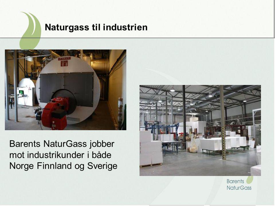 Naturgass til industrien Barents NaturGass jobber mot industrikunder i både Norge Finnland og Sverige