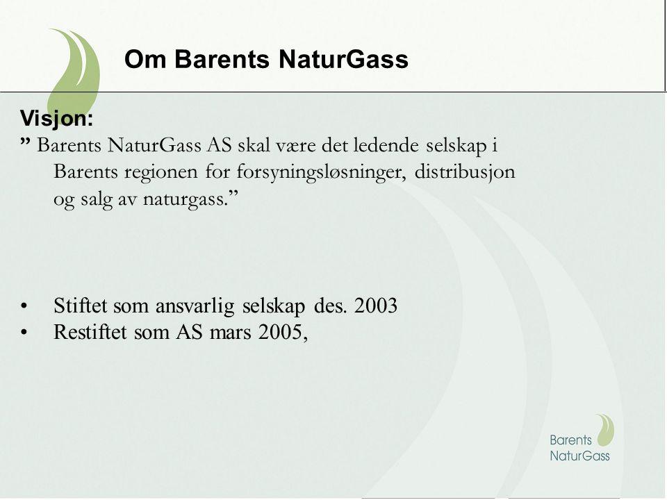 """Om Barents NaturGass Visjon: """" Barents NaturGass AS skal være det ledende selskap i Barents regionen for forsyningsløsninger, distribusjon og salg av"""