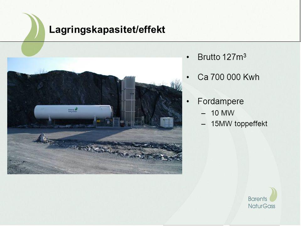 Lagringskapasitet/effekt Brutto 127m 3 Ca 700 000 Kwh Fordampere –10 MW –15MW toppeffekt