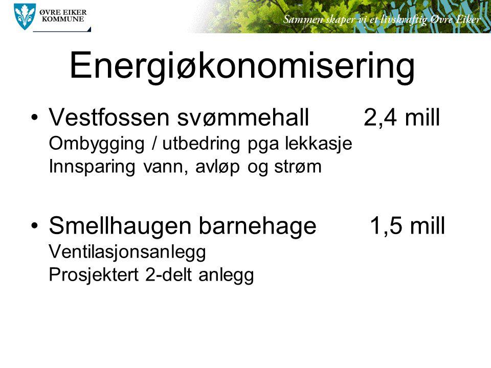 Energiøkonomisering Vestfossen svømmehall 2,4 mill Ombygging / utbedring pga lekkasje Innsparing vann, avløp og strøm Smellhaugen barnehage 1,5 mill Ventilasjonsanlegg Prosjektert 2-delt anlegg