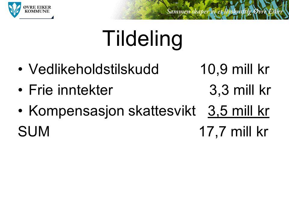 Tildeling Vedlikeholdstilskudd 10,9 mill kr Frie inntekter 3,3 mill kr Kompensasjon skattesvikt 3,5 mill kr SUM 17,7 mill kr