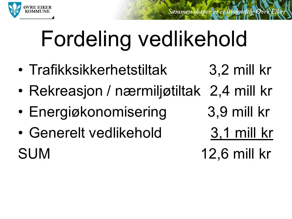 Fordeling vedlikehold Trafikksikkerhetstiltak 3,2 mill kr Rekreasjon / nærmiljøtiltak 2,4 mill kr Energiøkonomisering 3,9 mill kr Generelt vedlikehold 3,1 mill kr SUM 12,6 mill kr