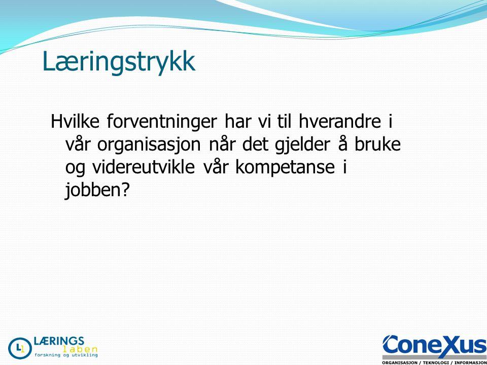 Hvordan skape og opprettholde læringstrykket i organisasjonen? Vårsymposium Drammen 21.april 2009 Jarl Inge Wærness www.laeringslaben.no