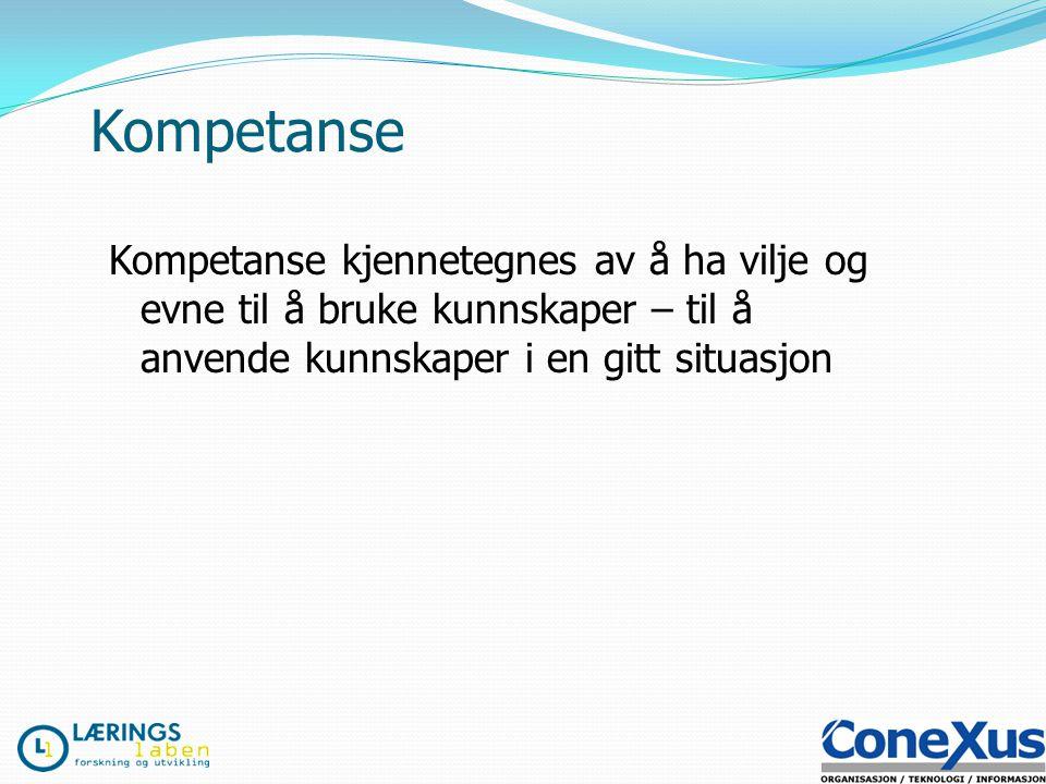 Kompetanse Kompetanse kjennetegnes av å ha vilje og evne til å bruke kunnskaper – til å anvende kunnskaper i en gitt situasjon