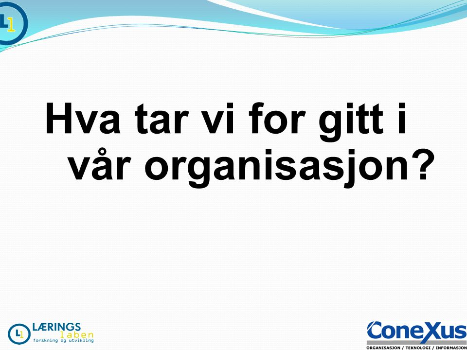 Hva tar vi for gitt i vår organisasjon?