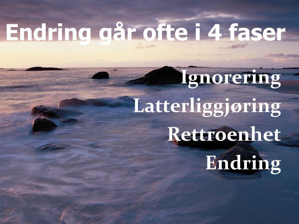 Endring går ofte i 4 faser Ignorering Latterliggjøring Rettroenhet Endring